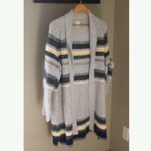 Caslon Staggered Stripe Open Front Wool Cardigan